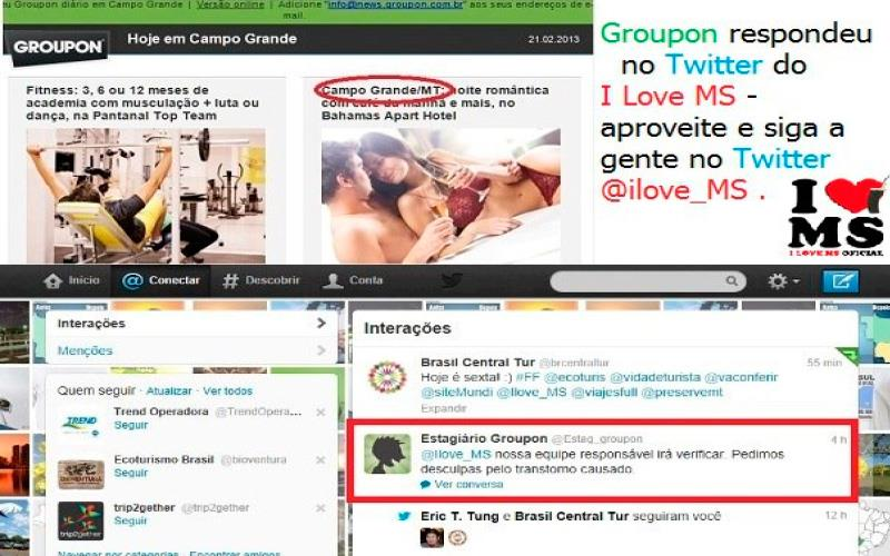 Groupon respondeu no twitter do I Love MS
